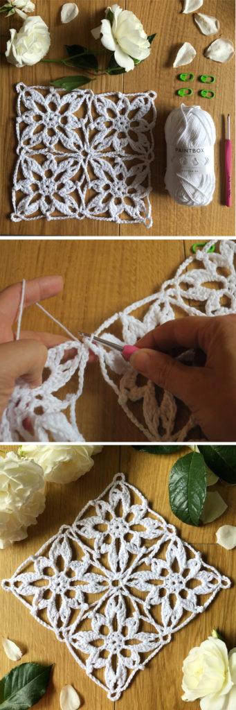 Join as you go crochet technique for the Start Flower crochet motif