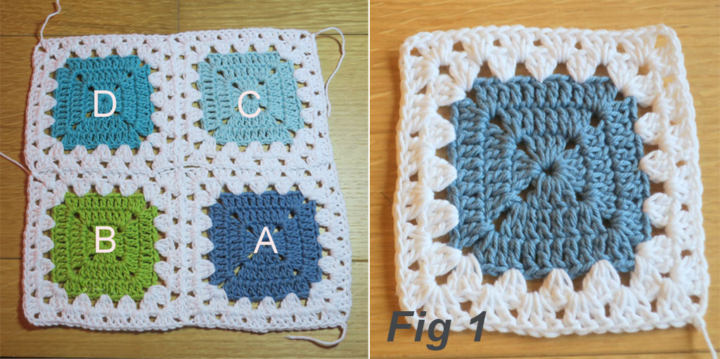 granny stitch crochet border & join layout
