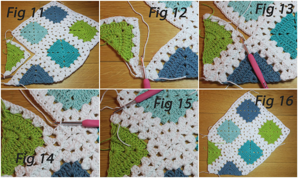 granny stitch crochet join for triangle motif