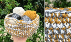 small crochet basket with yarn