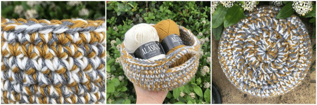 three images of crochet basket with aran yarn