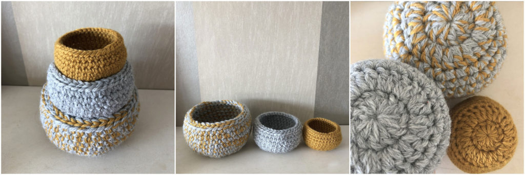 Image of completed three Little Bowls Free Crochet Pattern