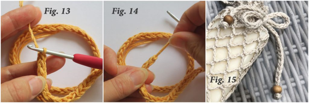 hands crocheting a lucet cord using yellow cotton yarn
