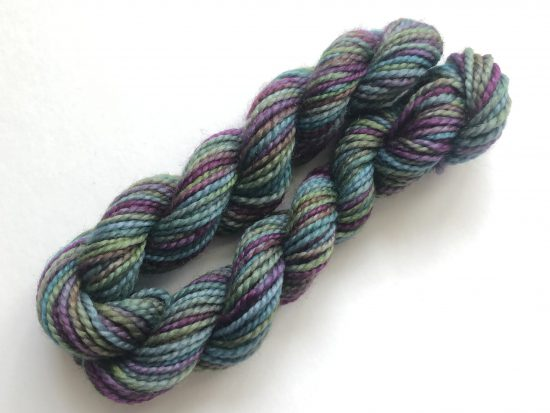 mini skein of hand dyed yarn from Lottie Knits - purples, blues and greens