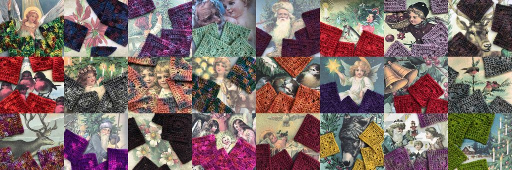 12 images showing vintage Christmas cards as a backdrop with with crocheted motifs on top