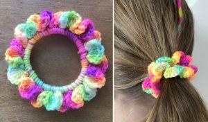 colourful hand crocheted hair scrunchie