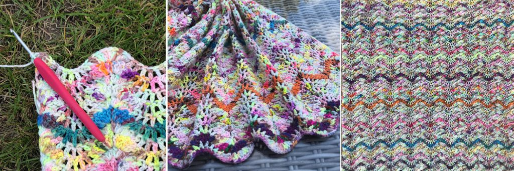 three colourful images showing sections of crocheted blanket in bright handdyed yarn ripple stitch