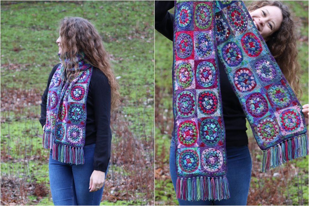woman with long hair wear hand crocheted patchwork scarf
