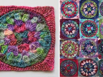 single round granny square in multi colours next to lots of round granny squares
