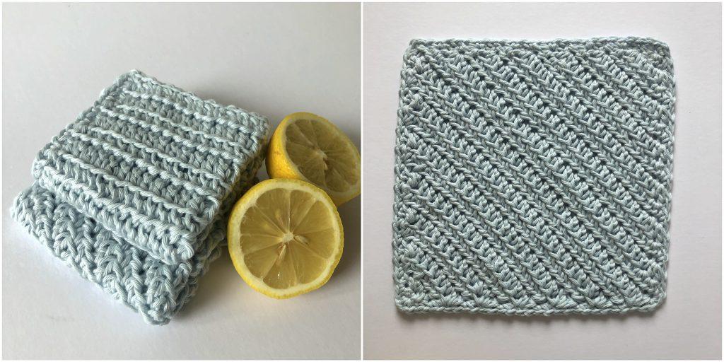 powder blue hand crochet dishcloths  folded with a lemon sliced in half