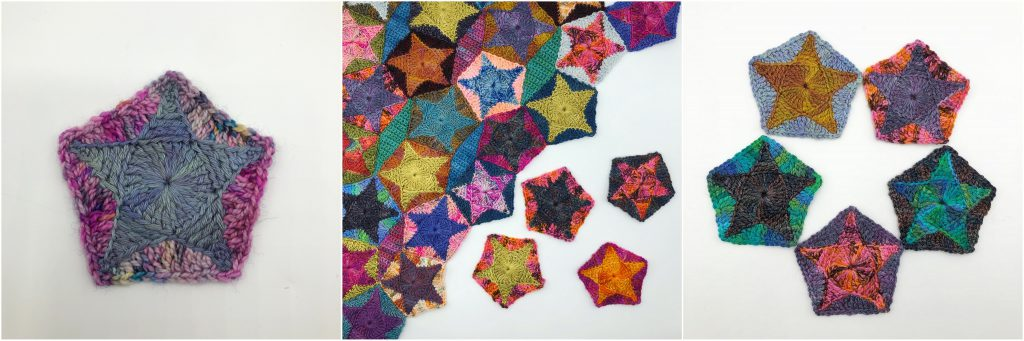 three images showing variations of a crochet pentagon star in hand dyed yarns