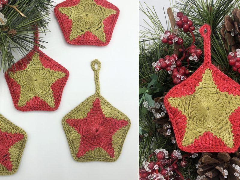 red & green silk crochet pentagon star Christmas decorations