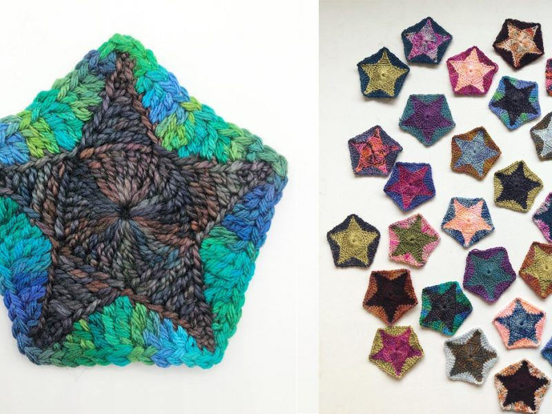 green and blue crocheted pentagon star in hand dyed yarn - one large and then lots of smaller motifs to the right