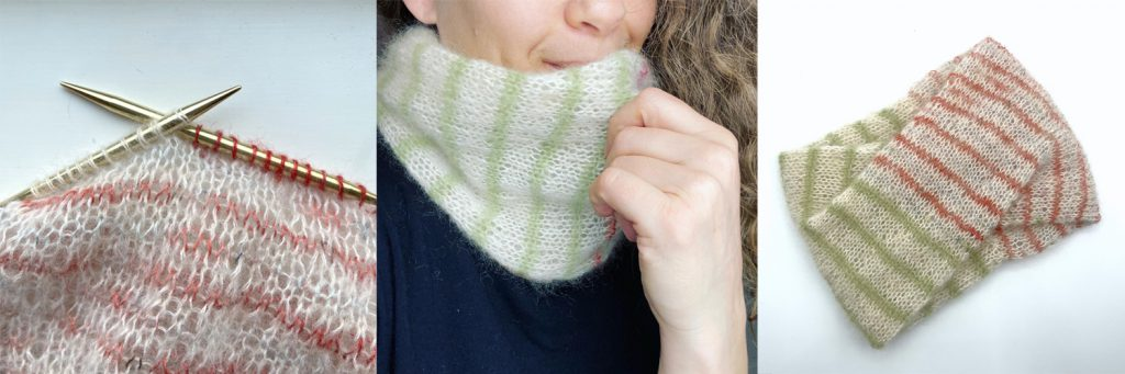 three images of a knitted mohair blend cowl - knitting needles, woman wearing cowl and cowl laid flat showing quarter twist.