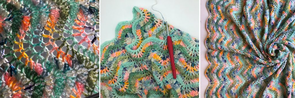 lacey ripple stitch crochet blanket in  cheerful colours