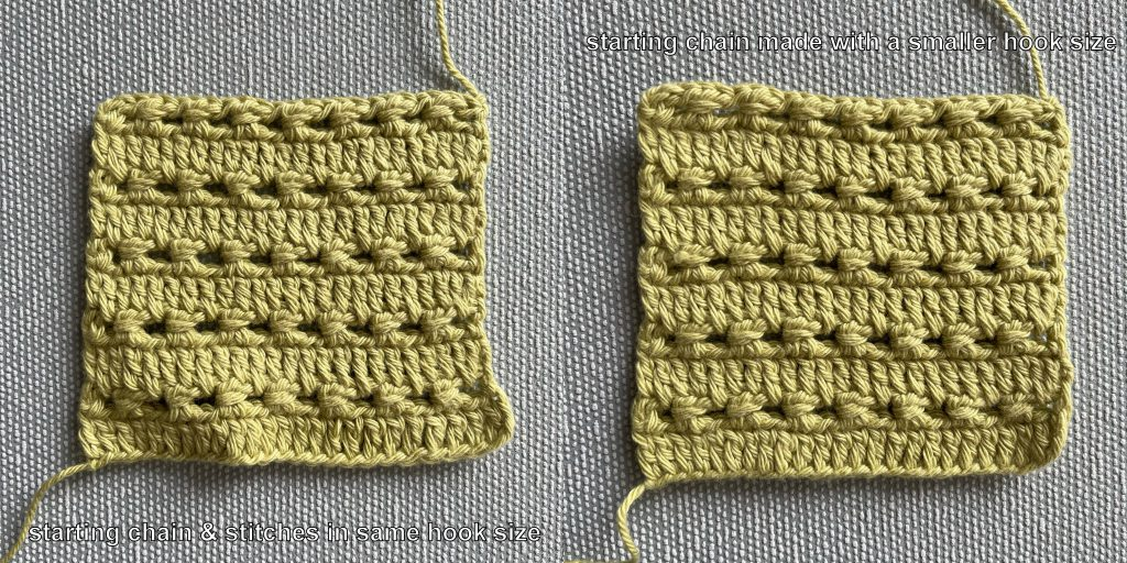 two crochet swatching showing the difference in using a smaller hook for the starting chain