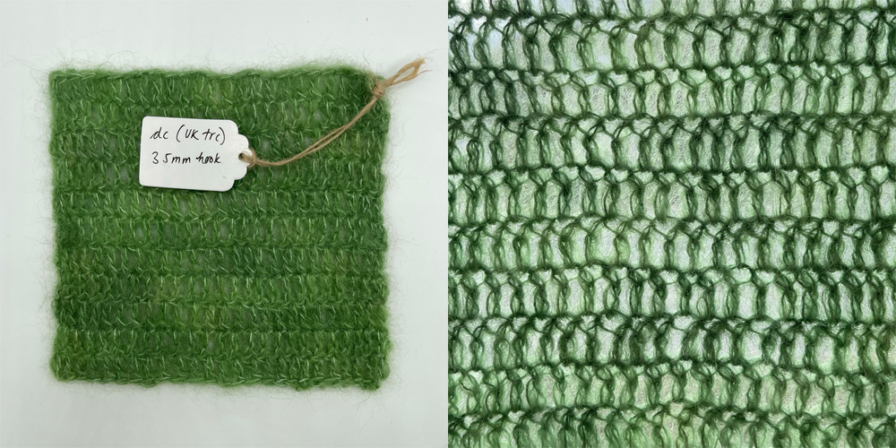 a swatch of fabric in double crochet made with baby suri alpaca yarn in lichen green