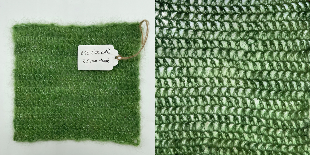 a swatch of fabric in extended single crochet made with baby suri alpaca yarn in lichen green