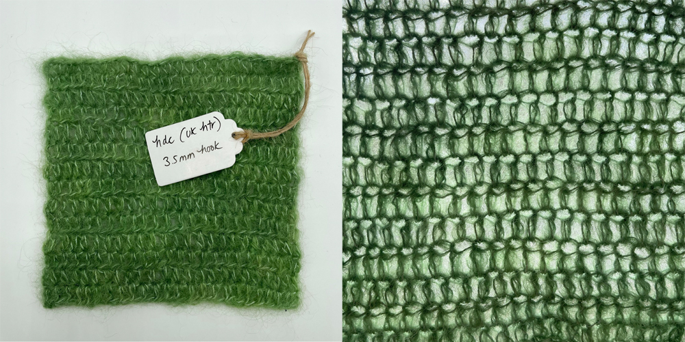 a swatch of fabric in half double crochet made with baby suri alpaca yarn in lichen green
