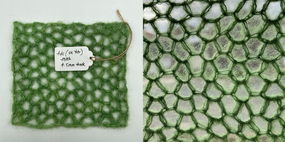 a swatch of fabric in honeycomb mesh crochet stitch made with baby suri alpaca yarn in lichen green