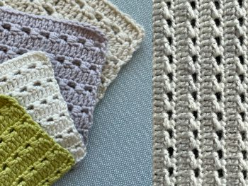 pinstriped crochet stitch pattern - swatches in different yarns and colours