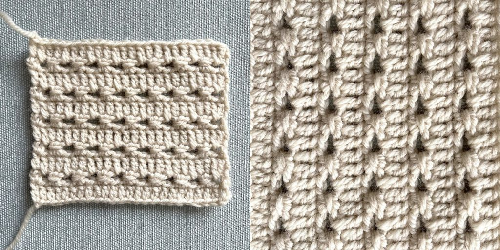 simple perforated crochet stitch in worsted weight yarn
