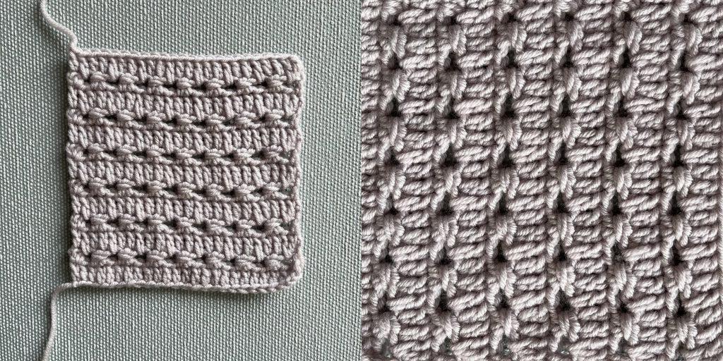 pintripe crochet stitch in double knit yarn