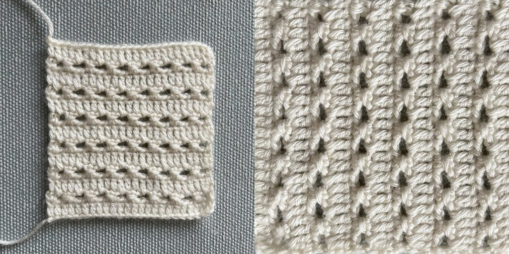 perforated pinstripes crochet stitch - sample in4ply/fingering weight yarn