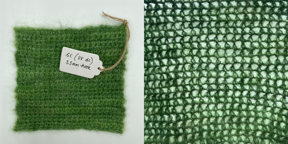 a swatch of fabric in single crochet made with baby suri alpaca yarn in lichen green