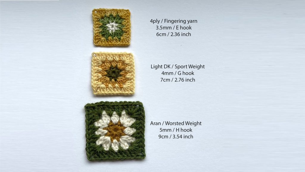 three different sizes of twinkling granny square crochet pattern in natural yarns - 4ply, DK, Aran in green, cream and yellow