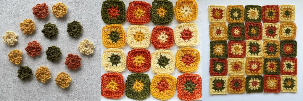 three images of crochet motifs in various stages - made in natural wool yarn in vanilla, yellow, orange and green